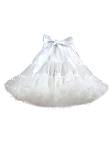 TUTUKIDS Baby Girl's Pleated Tutu Skirt Princess Toddler Birthday Party Tulle Tiered Pettiskirt White 5-7 -