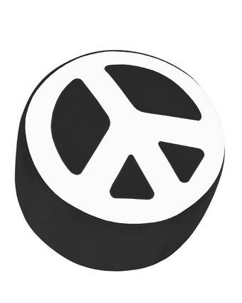 LumiSource OTTO-PC BK+W Peace Ottoman, Black/White