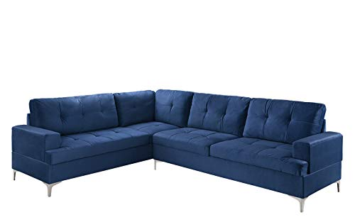 Classic Large Tufted Velvet Sectional Sofa, Living Room L-Shape Couch (Navy)