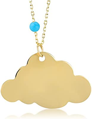 Gelin 14k Solid Yellow Gold Simple Rain Cloud Outline with