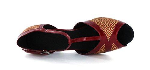 Minitoo Women's Sandals T-Strap Peep Toe Super Glitter Dance Shoes Red LzWof9