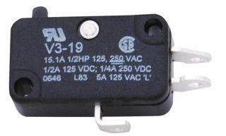 HONEYWELL V3-19M Microswitch, V3 Series, SPDT, Solder, 15.1 A, 250 VAC, 250 VDC