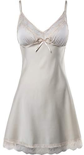 BellisMira Women's Satin Sheer Padded Full Slip Chemise Silky Lace Trimming Nightgown Sleepwear,Champagne Gold,M