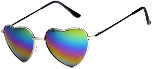 Stylish Heart Shaped Silver Metal Frame Aviator Full Mirror Lens Sunglasses Multicolor -