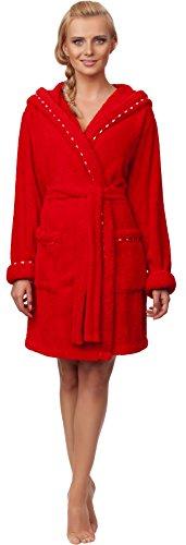 Merry Style Albornoz con Capucha para Mujer Rebecca Rojo