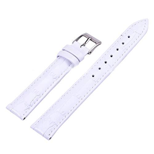 Leather Alligator Crocodile Grain Watch Band Strap Black and Coffee Genuine White 16mm