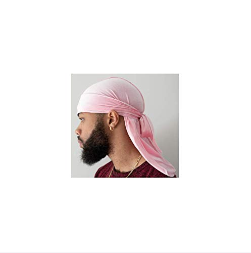 Slippery Apparel | Velvet Premium Durag 360 Waves Extra Long Straps for Men Will Last for Years (Light Pink/Pearl)