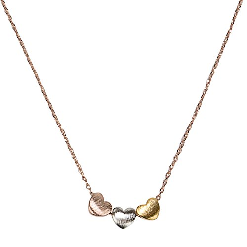 - SPUNKYsoul Handmade ♥ ♥ ♥ 3 Heart Necklace for Women Gold, Silver or Rose Gold Collection (Rose Gold Chain with 3 Tone Hearts)