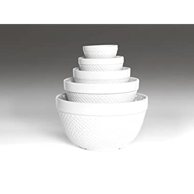 TTU Gallery 5-Piece Mixing Bowl, Hobnail White