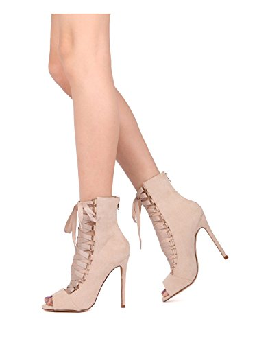 Bootie Alrisco Grosgrain Women Suede Nude Suede Up HG77 Faux Stiletto Faux Toe Peep Lace xqzSrdxXwF