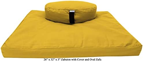 Bean Products Zafu and Zabuton Meditation Cushion Set, Cotton, 100 Organic Cotton or Hemp – Organic Buckwheat Fill – Made in USA