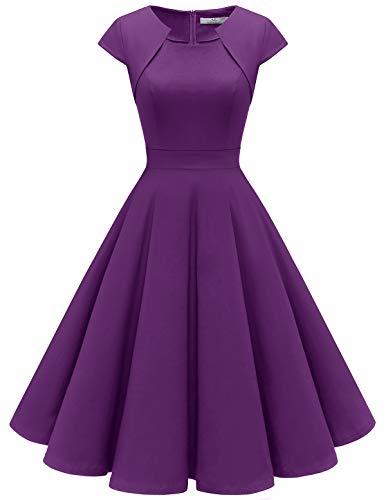 Homrain Women's 1950s Retro Vintage A-Line Cap Sleeve Cocktail Swing Party Dress Purple 3XL