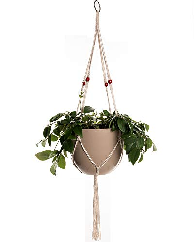Plant Hanger Macrame 38in Pure Cotton Rope with Red Wooden Beads Indoor Outdoor Decoration Handmade Hanging Planter Basket Round & Square Flower Herbs Pots (no Pots no Plants) 4 Legs, 1 pcs ()
