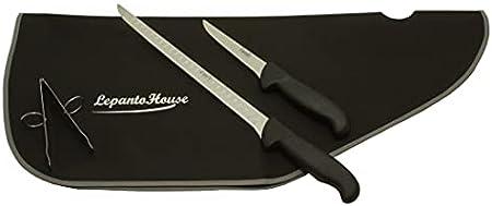 Set cuchillo jamonero alveolado 43 cm, cuchillo deshuesador 23 cm, pinzas y cubre jamón, juego de cuchillos aleación molibdeno vanadio, LepantoHouse