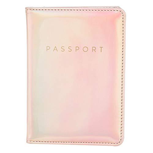 Leminimo Hologram Passport Cover Holder With RFID Blocking - Metallic Pink Passport Case Travel Wallet
