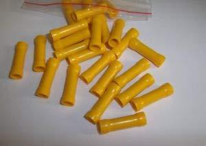 (25 Car Audio Wire Butt Connectors Terminals Vinyl 12-10 Ga AWG Gauge Crimp New Terminals)