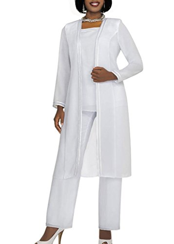 Kelaixiang Long Sleeves Mother Of The Bride Pant Suits Plus Size 3 Pieces White Us 22Plus
