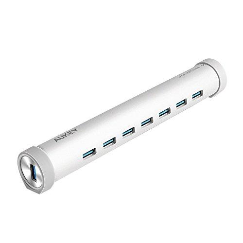 AUKEY Hub USB Type C 7 Ports USB 3.0 en Aluminium HUB USB C avec Adapteur d'Alimentation de 5V 4A pour New Macbook, Macbook Pro 2016, Google ChromeBook Pixel 2015 et les Autres Appareils avec USB C Port ( Agrent )