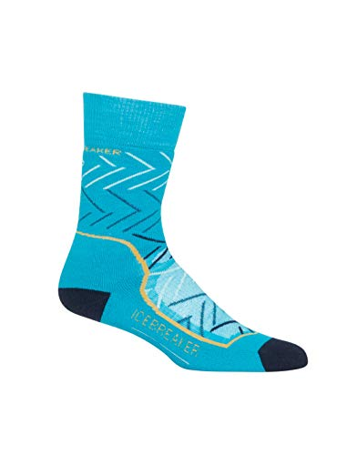 Icebreaker Merino Women's Hike Crew Sunrise Hiking Socks, Medium, Arctic Teal/Midnight Navy/Ginger