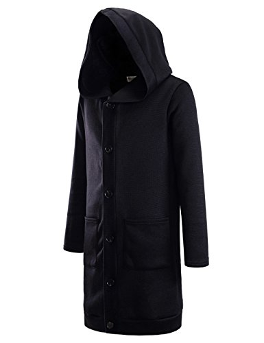 NEARKIN (NKNKTNC606) Mens Fleece Slim Cut Look 6 Button Hoodie Long Cardigan BLACK US S(Tag size S)