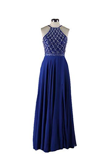 Open-Back Designer Prom Dress A-line Floor Length Beading Evening Dresses High Split Blue Bridesmaid Gown