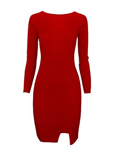 TAM WARE Women Stylish Slim Fit Knit Sweater Boat Neck Bodycon Dress TWCWD078-RED-US M