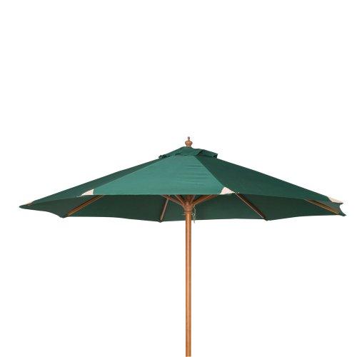 Siena Garden 119973 Sonnenschirm, Holzgestell Teakoptik, Durchmesser 270 cm, Bezug Polyester grün
