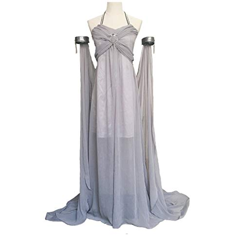 Xfang Women's Chiffon Dress Halloween Cosplay Costume Grey Long Train Dress -