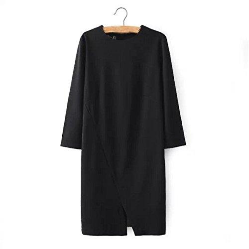 Bolsillos Mangas Largas Oscilación Del Vestido Ocasional De La Camiseta De Las Mujeres Black
