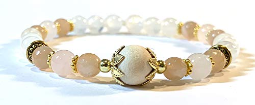 - Handmade Wooden Bead, Sunstone, Moonstone and Rose Quartz Diffuser Healing Bracelet 7 Inches with Golden Findings