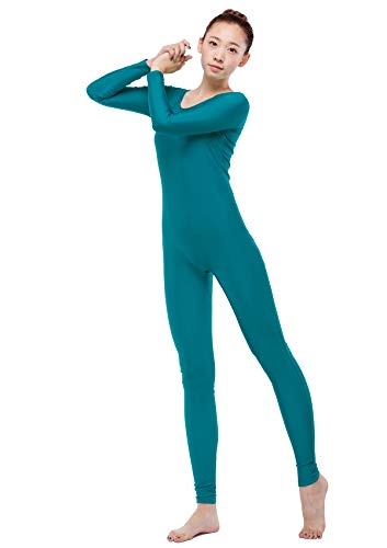 Life In Color Women's Unitard Spandex Bodysuit Long Sleeve Scoop Neckline Footless Zentai Suit