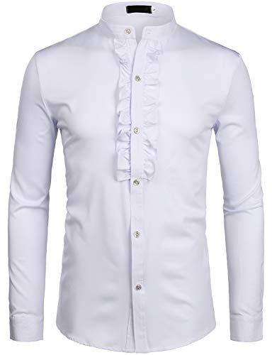 ZEROYAA Mens Hipster Ruffle Mandarin Collar Slim Fit Long Sleeve Casual Button Down Dress Shirts Tops Z69 White Large