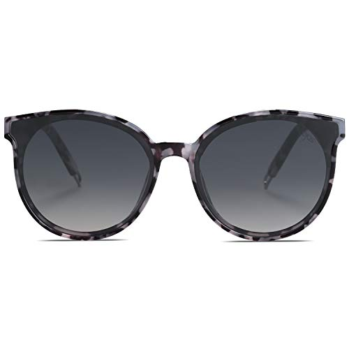 SOJOS Fashion Round Sunglasses for Women Men Oversized Vintage Shades SJ2057 with Black Marble Frame/Gradient Grey Lens