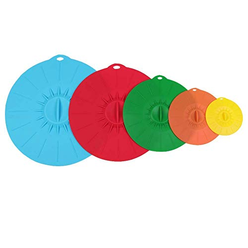 5 pcs/Set Universal Silicone Suction Lid-Bowl pan Cooking Pot Lid-Silicon Stretch Lids Kitchen Spill Lid Pressure Seal Stopper Valve Cover (Random Color)