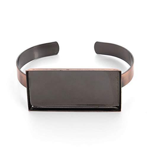 Laliva Silver Antique Bronze Rectangle Bracelets Bangles Settings Glass Cabochons Cameo Base Tray Bezel Blanks for 2550mm DIY Craft - (Color: Antique Copper)
