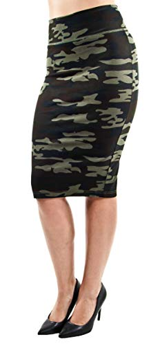Pull-on Wide High Waist Bodycon Pencil Knee Length Stretch Midi Skirt in Camouflage Size M