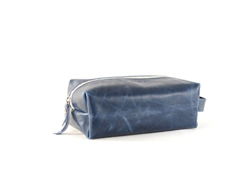 Blue Leather Dopp Kit- James Dopp Kit by Shana Luther Handbags