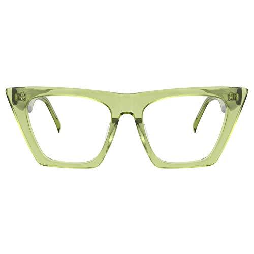 Zeelool Retro Acetate Cat Eye Glasses for Women with Non-prescription Clear Lenses Cecile FP0662