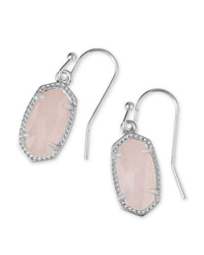 Kendra Scott Lee Silver Drop Earrings In Rose Quartz
