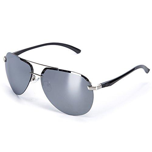 YJMILL 2018 men best polarized sunglasses riding fishing half frame 8058 (Silver, - Riding Best Sunglasses