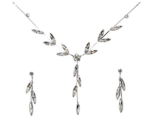 (Faship Gorgeous Clear Rhinestone Crystal Floral Necklace Earrings Set - Clear )