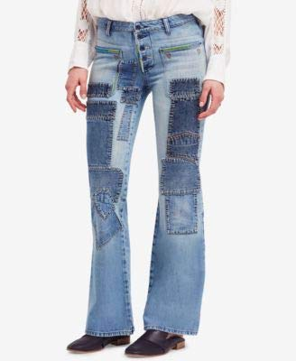 Free People Womens Denim Light Wash Flare Jeans Blue 25 ()