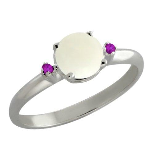 0.67 Ct Round White Opal Purple Amethyst 18K White Gold Ring