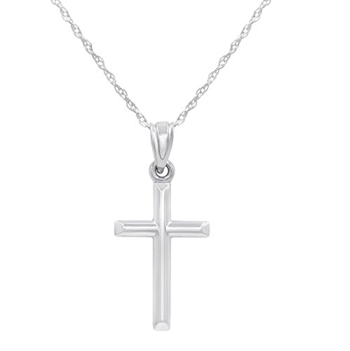 14k White Gold Cross Pendant Necklace on an 18 in. (14k White Gold Chain Necklace)
