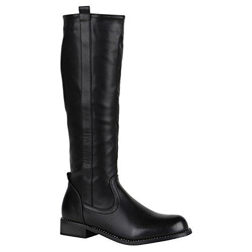 Stiefelparadies Damen Stiefel Leder-Optik Cowboystiefel Western Boots Holzoptikabsatz Schuhe Langschaftstiefel Blockabsatz Lässge Freizeit Schuhe Flandell Schwarz Brooklyn