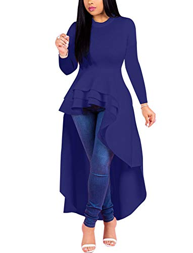 Fashion High Low Tops for Women - Unique Ruffle Long Sleeve Tunic Shirt (XXX-Large Blue)