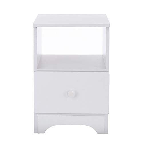 2 Drawer Nightstand with Open Shelf, Bedroom Assemble Storage Cabinet Night Stand Table with Double Drawers and Cabinet for Storage (Open Shelf) (Sale White Cabinets Bedside)