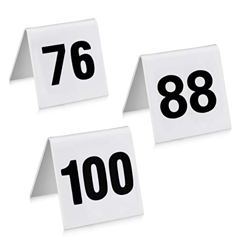"New Star Foodservice 27587 Commercial Acrylic Tent Style Table Numbers, Double Sided, 1.7"" x 2"" Inch, Numbers 76 to 100"
