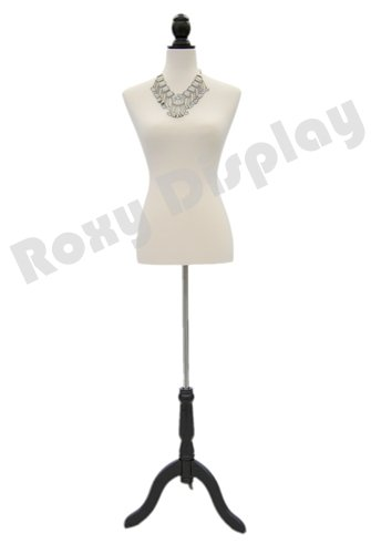 ROXYDISPLAY™ Female Body Dress Maker Form with Fabric Cover and Black Wooden Base - Form Dress