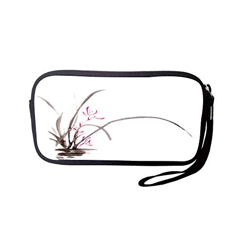 iPrint Neoprene Wristlet Wallet Bag,Coin Pouch,Art,Traditional Ink Orchid Flower Drawing Oriental Chinese Effects Spiritual Theme Decorative,Charcoal Grey Pink,for Women and Kids ()